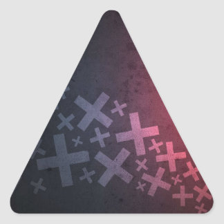 Abstract Red Black Pluses and X's Triangle Sticker