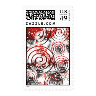 Abstract Red/Black Postage