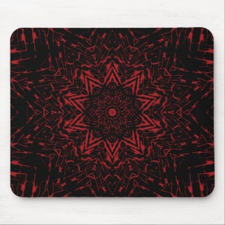 Abstract Red Black Round Star Flower Kaleidoscope Mousepads