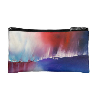 Abstract Red Blue Bagette Cosmetic Bags