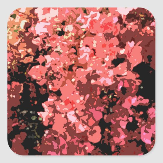 Abstract Red Bougainville Flowers Square Sticker
