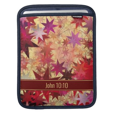 Abstract Red Burgundy Yellow Stars Personalized iPad Sleeve