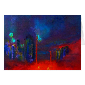 """Abstract Red City"" Art Card"
