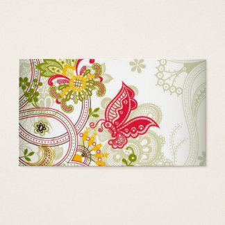 Abstract  Red Colorful Lace Butterfly Business Card