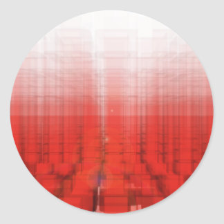 Abstract Red Construct: Classic Round Sticker