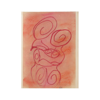 Abstract red couple wood poster