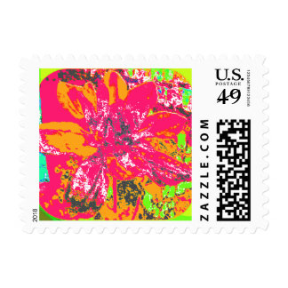 Abstract Red Dahlia Flower Painting Postage