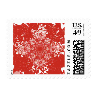 Abstract Red Dahlia Flower Postage