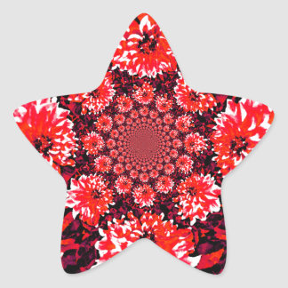 Abstract Red Dahlia Star Sticker