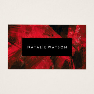 Abstract Red Dark Paint Modern Elegant Business Card