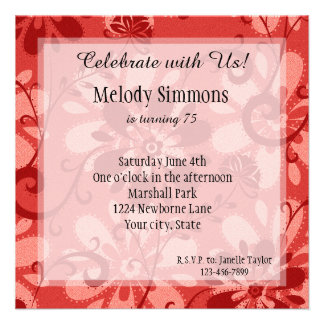 Abstract Red Floral Personalized Announcement