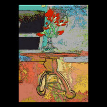 Abstract Red Flowers Still Life posters