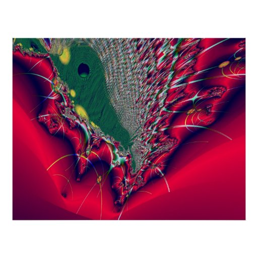 Abstract red fractal Poster