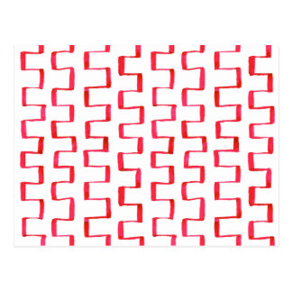 Abstract Red Geometric Painted Pattern Postcard