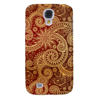 Abstract Red Gold Floral Pattern Galaxy S4 Covers