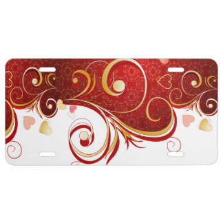 Abstract Red Gold Hearts Floral Swirls Pattern License Plate