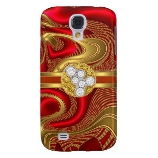 Abstract Red Gold Pern Diamond jewel Samsung S4 Case