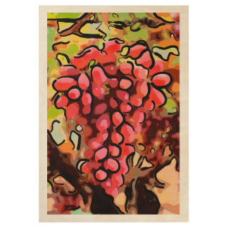 Abstract Red Grapes on the Vine - Wood Poster