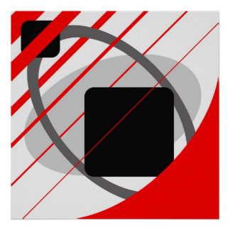 Abstract Red Gray Off-White Black AP0002 Poster