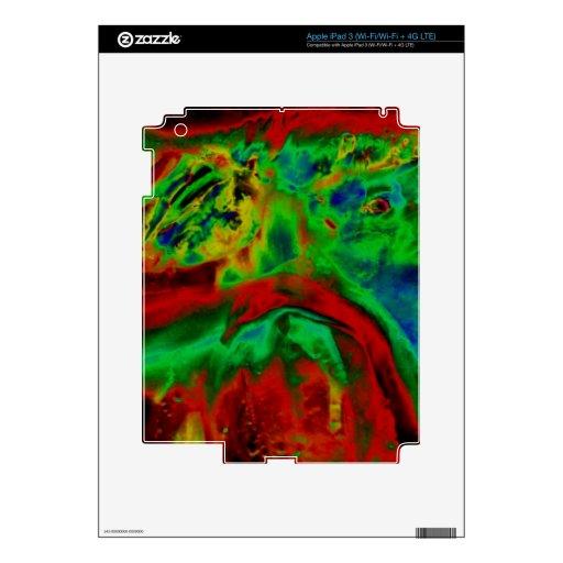 Abstract Red Green Digital iPad 3 Skin