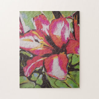abstract red green white black lily flower jigsaw puzzles