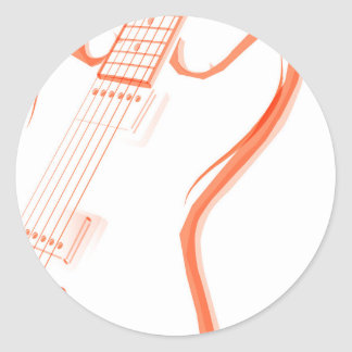 Abstract Red Guitar Background Classic Round Sticker