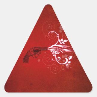 Abstract Red Gun Fire Triangle Sticker