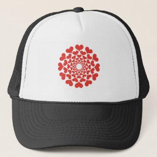 Abstract red heart flower trucker hat