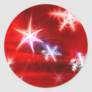 Abstract Red Holiday Snowflake Christmas Design Classic Round Sticker