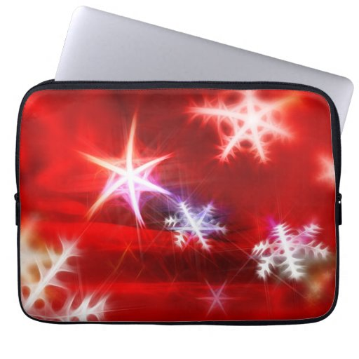 Abstract Red Holiday Snowflake Christmas Design Laptop Computer Sleeve
