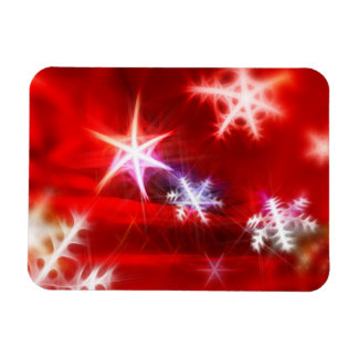 Abstract Red Holiday Snowflake Christmas Design Magnet