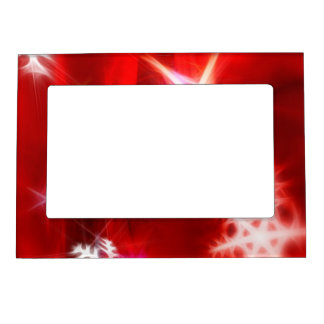Abstract Red Holiday Snowflake Christmas Design Magnetic Photo Frame