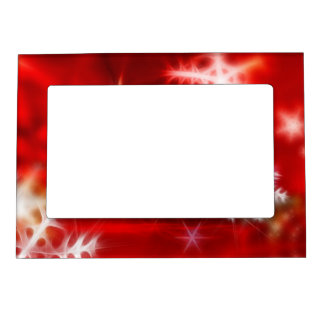 Abstract Red Holiday Snowflake Christmas Design Magnetic Picture Frame