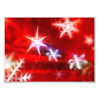 Abstract Red Holiday Snowflake Christmas Design Photographic Print