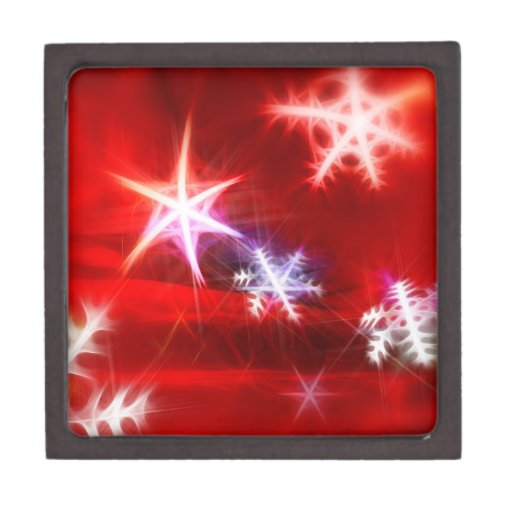 Abstract Red Holiday Snowflake Christmas Design Premium Jewelry Box