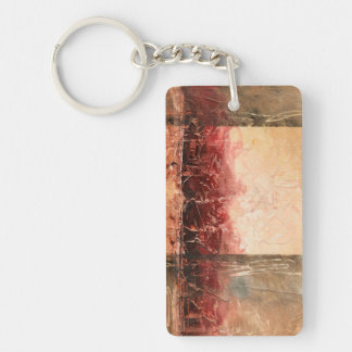 Abstract Red Landscape Rectangle Acrylic Key Chains
