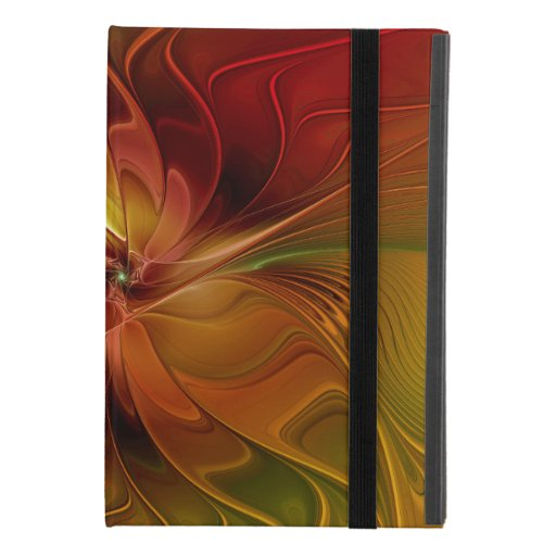 Abstract Red Orange Brown Green Fractal Art Flower iPad Mini 4 Case