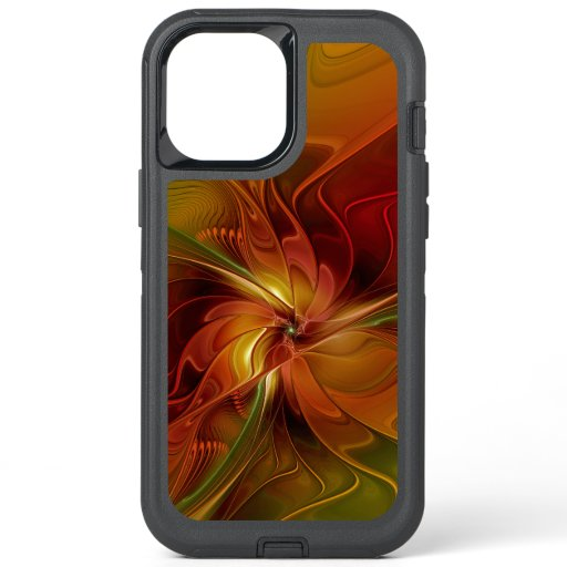 Abstract Red Orange Brown Green Fractal Art Flower OtterBox Defender iPhone 12 Pro Max Case