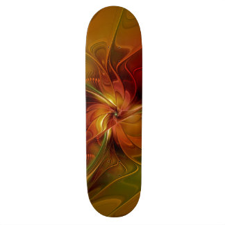 Abstract Red Orange Brown Green Fractal Art Flower Skateboard Deck