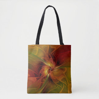 Abstract Red Orange Brown Green Fractal Art Flower Tote Bag