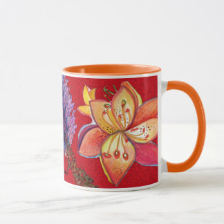 Abstract Red Orchid Mug