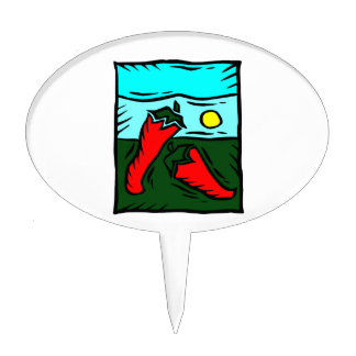 Abstract red pepper sun sky square cake topper