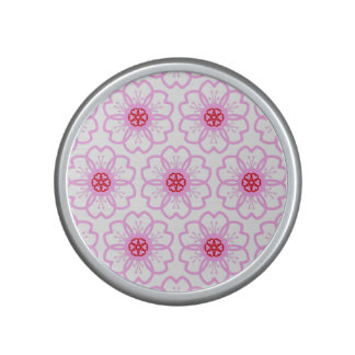 Abstract Red Pink Flower Doodle Heart Pattern Speaker
