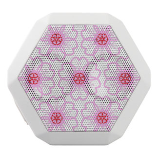 Abstract Red Pink Flower Doodle Heart Pattern White Bluetooth Speaker