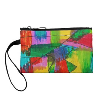 Abstract Red Pink Green Yellow Blue Coin Clutch Change Purses