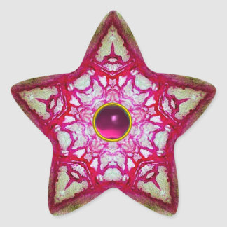 ABSTRACT RED PINK STAR WITH FUCHSIA AMETHYST GEM STAR STICKER