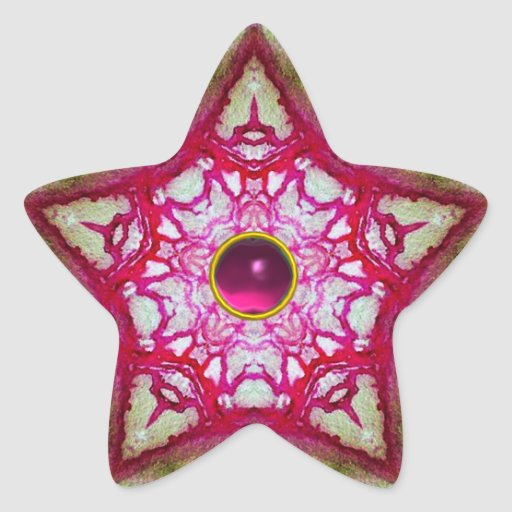 ABSTRACT RED PINK STAR WITH FUCHSIA AMETHYST GEM STICKER