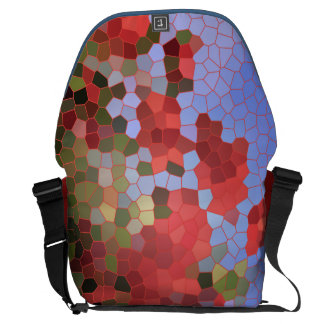 Abstract Red Poppies Blue Sky Stained Glass Mosaic Messenger Bag