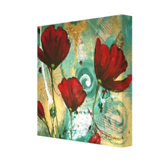 Abstract Red Poppies Canvas Print