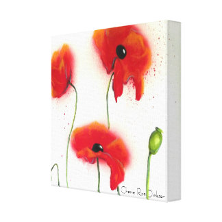 Abstract Red Poppies on White Background Canvas Print